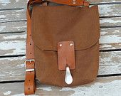 Brown Canvas  Mini Messenger bag   with Adjustable Leather Strap / School / Travel