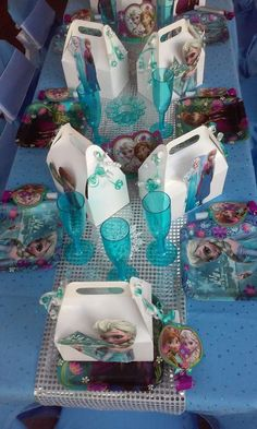 Decorated table at a Frozen Birthday Party! See more party planning ideas at CatchMyParty.com!