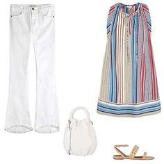 Current/Elliott flared jeans, $185; stylebop.com; Chloé striped cotton-poplin dress, $1,440; net-a-porter.com; Tabitha Simmons Orla embellished cork sandal, $665; net-a-porter.com; Loewe small Bounce bag, $1,950; barneys.com