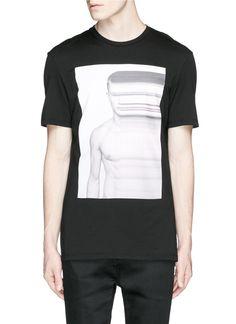 Neil Barrett Stretch Model Print T-Shirt in Black for Men