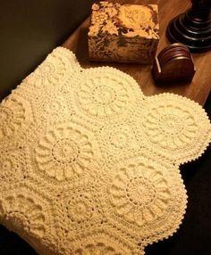 Ravelry: Cognac Matelassé Afghan pattern by Priscilla Hewitt by Carmen Perry Crochet Bedspread, Crochet Quilt, Crochet Squares, Knit Or Crochet, Crochet Motif, Crochet Blankets, Crochet Cushions, Crochet Blocks, Crochet Pillow