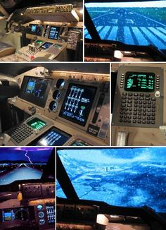The cockpit is made of wood with a main 12 ft x 9 ft screen and two 19-inch flat screens for the side windows. Microsoft Flight Simulator and Aerowinx PS1 take care of the visuals, while the autopilot system, throttles and weather radar were found online.