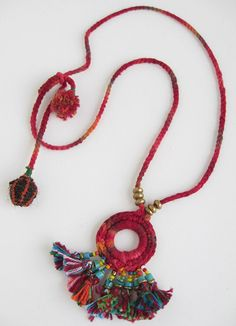 fabric beads necklace