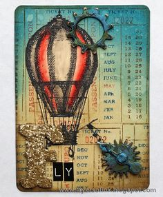 Layers of ink - Distressed Travel ATC, made for Simon Says Stamp Monday Challenge Blog, using Tim Holtz Distress products, Stampers Anonymous stamps and Sizzix dies.