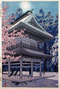 The Main Gate of Engakuji Temple, Kamakura by Shiro Kasamatsu, 1953 (published by Unsodo)