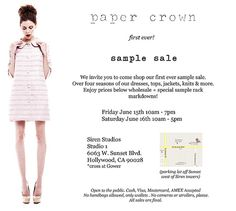 Paper Crown Sample Sale. Going to this!