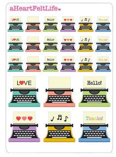 Colorful Typewriter Planner Stickers, Erin Condren Planner Stickers, Filofax, Kikki K, Scrapbook Stickers, Calendar Stickers, etc.
