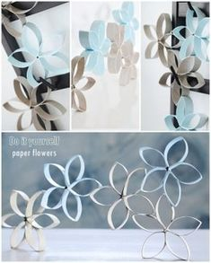 paper roll by teri-71 Toilet Paper Roll Crafts, Diy Paper, Rolled Paper Art, Paper Flowers Diy, Wall Flowers, Recycled Art, Decor Crafts, Fun Crafts, Flower Decorations