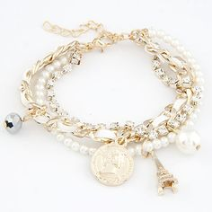 Easy match the tower and coin gem leather multi-layer bracelet