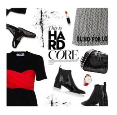 """City"" by magdafunk ❤ liked on Polyvore featuring MSGM, Gucci, Acne Studios, RumbaTime, rag & bone, StreetStyle, patentleather, accessories and blackandred"