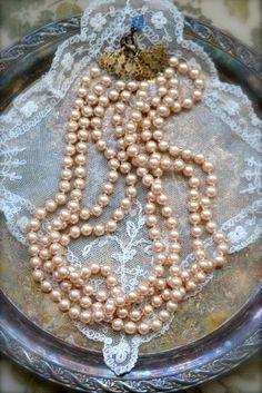 ❥ Anna Karenina Inspired Pearl Necklace - Triple Strand