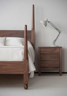 The Natural Bed Company Senegal exotic wooden bed in gorgeous walnut. Feel free to pin! Under Bed Drawers, Under Bed Storage, Bed Company, Four Poster Bed, Dream Bedroom, Master Bedroom, Wood Beds, Solid Wood Furniture, Bedroom Furniture