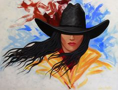 Brushstroke Cowgirl #3 Painting