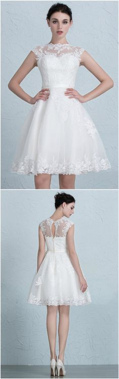 JAEDEN Women\'s Vintage Lace Wedding Dress Short Bridal Gown Dresses ...