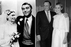 """À esquerda: Mia Farrow com Michael Jayston em """"Follow Me!"""" (1972). À direita: com o marido Frank Sinatra, 1966."""