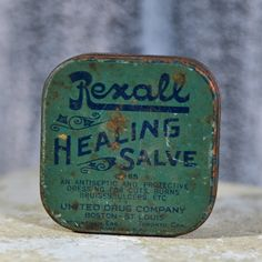 Antique REXALL HEALING SALVE metal tin can... home by CoolVintage, $12.50
