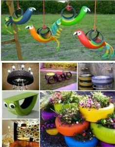 25 Awesome Ways To Recycle Old Tires Forget paying the garage to recycle your tires! Garden Crafts, Garden Projects, Tire Playground, Playground Ideas, Tire Craft, Tyres Recycle, Recycled Tires, Reuse, Repurpose