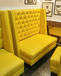 Yellow Chesterfield high back sofa