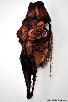 Hand Painted / REAL Animal Skull/ Taxidermy / Wall Mount Skull /  Swedish Moose Skull / Animal Bones. $1,840.00, via Etsy.