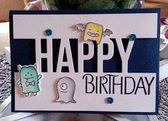 Anett´s Kreativkiste - Geburtstagskarte mit den Lawn Fawn Monstern