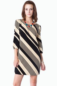 ShopSosie Style : Diagonal Stripe Shift Dress in Creme Classic