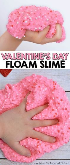 Make our easy Valentine Floam Slime that feels crunchy but still stretchy and moldable! day quotes Valentine Floam Slime Recipe - I Heart Arts n Crafts Toddler Crafts Valentines Day, Preschool Valentine Crafts, Easy Toddler Crafts, Valentine's Day Crafts For Kids, Valentines Day Activities, Valentines For Kids, Valentines Crafts For Preschoolers, Valentine's Day Quotes, Homeschool