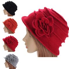 Women Ladies Flower Woolen Felt Bucket Beanie Hat Packable Foldable Cloche Cap