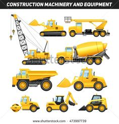 Construction equipment and machinery with trucks crane and bulldozer flat icons set bright yellow abstract isolated illustration