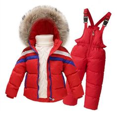92a54fb15d2e Winter Suits for Girls Boys Children Clothing Sets Baby Snow Jackets ...
