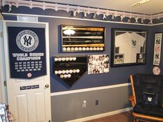 Amazing decorating idea for a study/den...except it needs to be the Reds!