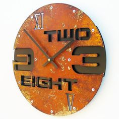 Outnumbered I Modern Wall Clock Rusted w/ Back.