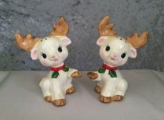 Vintage 1970s Lefton Reindeer Salt and Pepper Shakers!