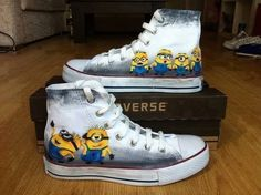 Awesome!!! Minion converse Nike Shoes, Shoes Sneakers, Custom Converse Shoes, Nike Free Shoes, Custom Shoes, High Top Sneakers, Custom Painted Shoes, Hand Painted Shoes, Runs Nike