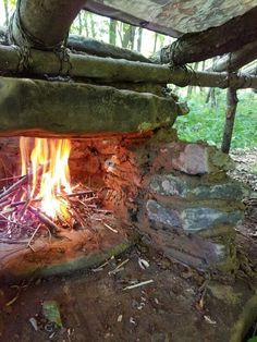Up close shot of chimney.Shelter idea located on bushcraftusa.com forum,one of the best survivalist and bushcraft forums online. #bushcraftshelterideas