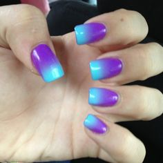 Ombre turquoise to purple