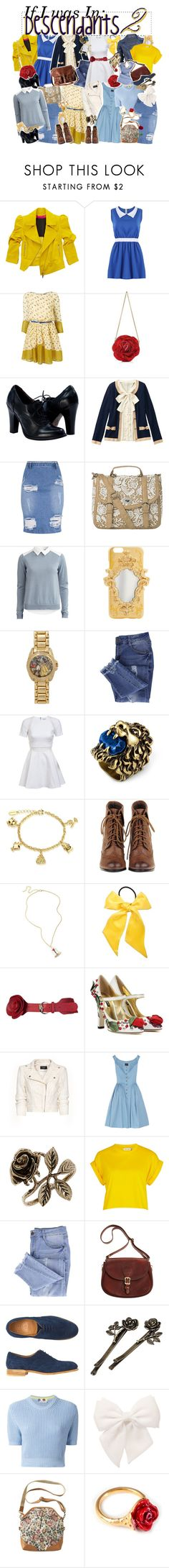 """""""If I was In: Descendants 2"""" by kateremington-1 ❤ liked on Polyvore featuring Emanuel Ungaro, Voi Jeans, Vila Milano, Disney, Essie, Elizabeth and James, H&M, Gucci, L. Erickson and Unk"""