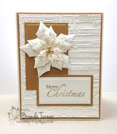 white and gold . gorgeous Spellbinder's layered poinsettia in white layers . sheet music embossing folder texture in background . I have the dies and the embossing folder Poinsettia Cards, Christmas Poinsettia, Noel Christmas, Christmas Paper, Christmas Greetings, Handmade Christmas, Christmas Cactus, Crochet Christmas, Christmas Christmas