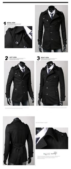 Men Slim Fit Wool Over Coat