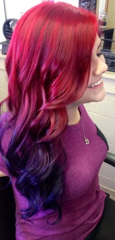 Red purple balayage hairstyle