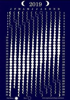 Mondphasenkalender 2019 - Witchcraft and Wicca - Science Wiccan, Magick, Wicca Witchcraft, Kalender Design, Moon Phase Calendar, Moon Magic, Lunar Magic, Space And Astronomy, Bullet Journal Inspiration