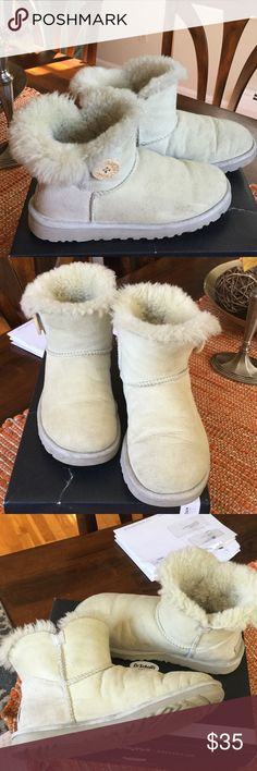 UGG Bailey Boots White, worn but plenty of life left.  So comfy and warm. UGG Shoes Winter & Rain Boots