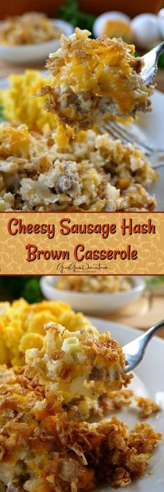 Cheesy Sausage Hash Brown Casserole is an easy and delicious hash brown casserole recipe loaded with cheese and sausage too. and Drink breakfast hash browns Cheesy Sausage Hash Brown Casserole - Great Grub, Delicious Treats Brunch Casserole, Breakfast Casserole Sausage, Breakfast Bake, Breakfast Dishes, Best Breakfast, Casserole Recipes, Breakfast Recipes, Breakfast Potatoes, Breakfast Crockpot