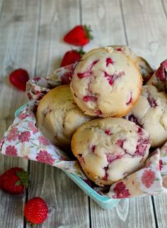 These vegan strawberry muffins are perfectly tender and moist for a fresh and seasonal breakfast pastry or daytime snack.
