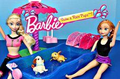 Barbie Frozen Elsa Princess Anna Puppy Water Racing Carosel Dog Park Swi...