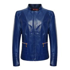 Plus Size XL-6XL Women Leather Coat With Wind Zipper in Red, Blue, Green, and Black