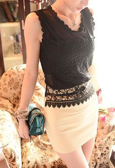 Mesh Lace Embroidered Black Top