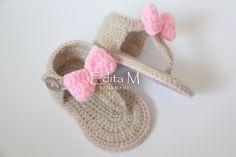 Crochet baby sandals gladiator sandals booties by EditaMHANDMADE