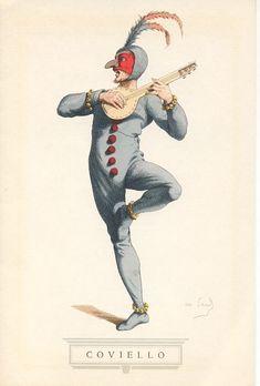 Coviello, personaggio che fu interpretato a Roma con eccezionale successo da Salvator Rosa, e che fu da lui descritto come astuto, intrigante, falso e millantatore, destro nei maneggiare il mandolino e la spada