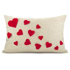 Growing hearts pillow cover - Red felt heart applique on natural beige canvas accent pillow cover - 12x18 lumbar pillow cover. via Etsy.