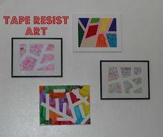 The Imagination Tree: Tape Resist Art Art For Kids, Crafts For Kids, Arts And Crafts, Preschooler Crafts, Summer Crafts, Kids Fun, Kindergarten Art, Preschool Art, Imagination Tree